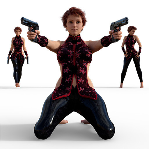 Figure drawing poses of a voluptuous woman with two guns