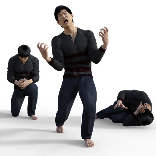 Figure drawing poses of an asian man dressed in slacks and a sweater
