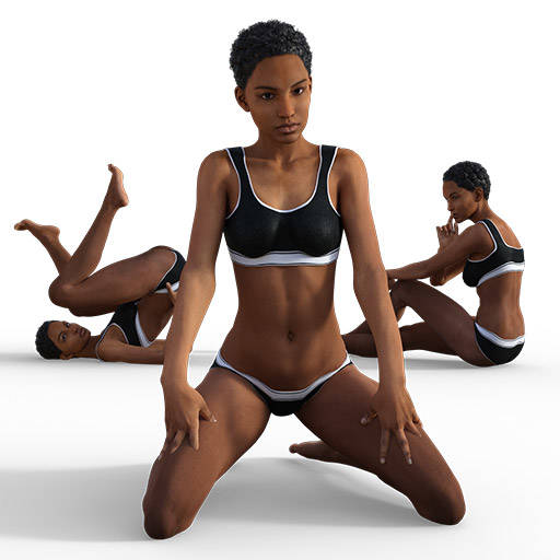 Figure drawing poses of a black woman in black underwear
