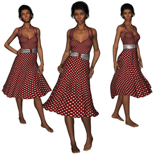 Figure drawing poses of a black woman in a red and white polkadot dress