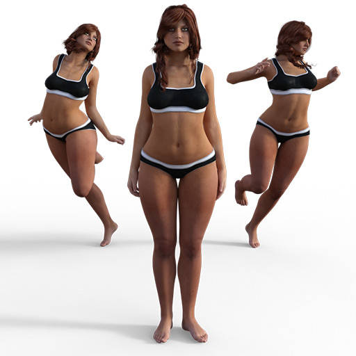Figure drawing poses of a voluptuous white woman in a mix of dynamic and portrait poses