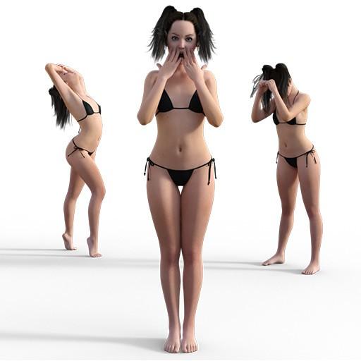 Figure drawing poses of a skinny white girl in a bikini
