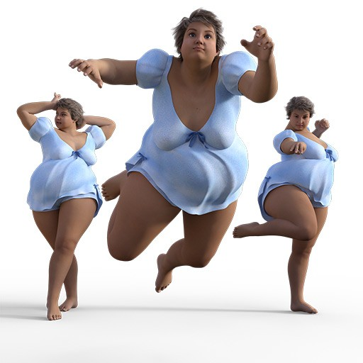 Figure drawing poses of a voluptuous white woman dressed in a blue nighty