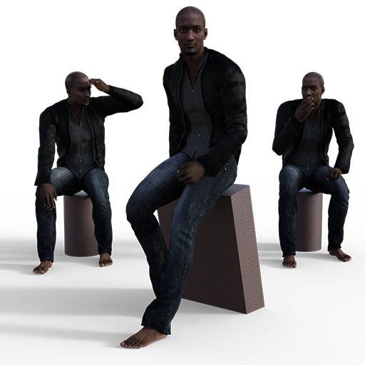 Figure drawing poses of a smooth looking black man in jeans and a jacket