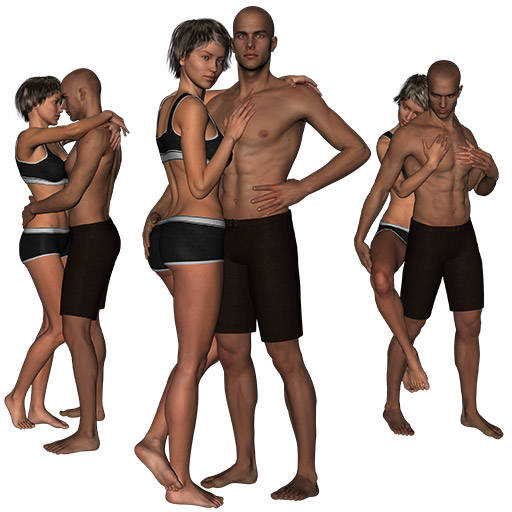 Figure drawing poses of a man and a woman being romantic in their underwear