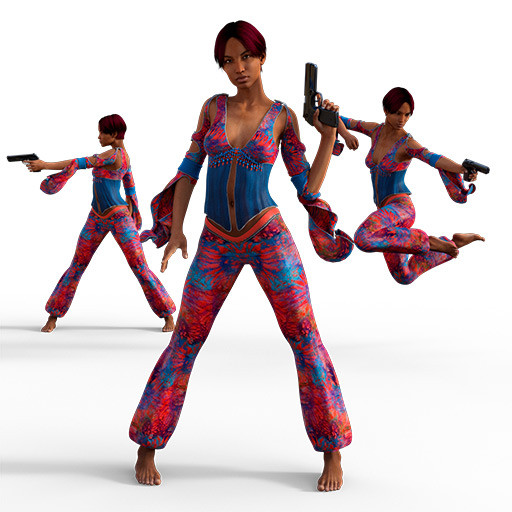 Figure drawing poses of a black woman in a psychedelic outfit holding a gun