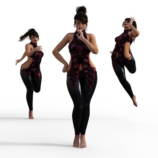Figure drawing poses of a voluptuous woman dressed in tights and a vest