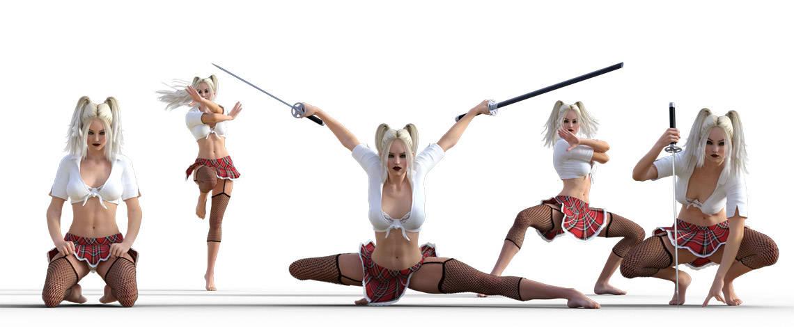 Ninja school girl poses
