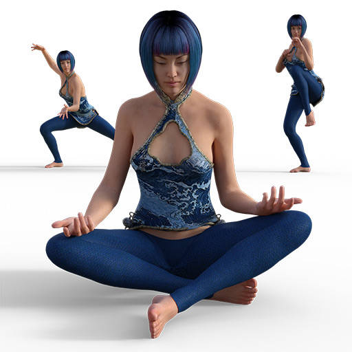 Figure drawing poses of an asian woman dressed in a blue leotard practicing karate
