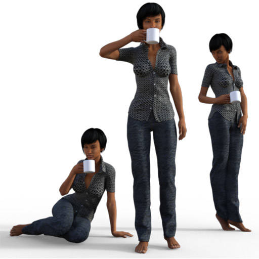 Figure drawing poses of a black woman, casually dressed, drinking a cup of coffee