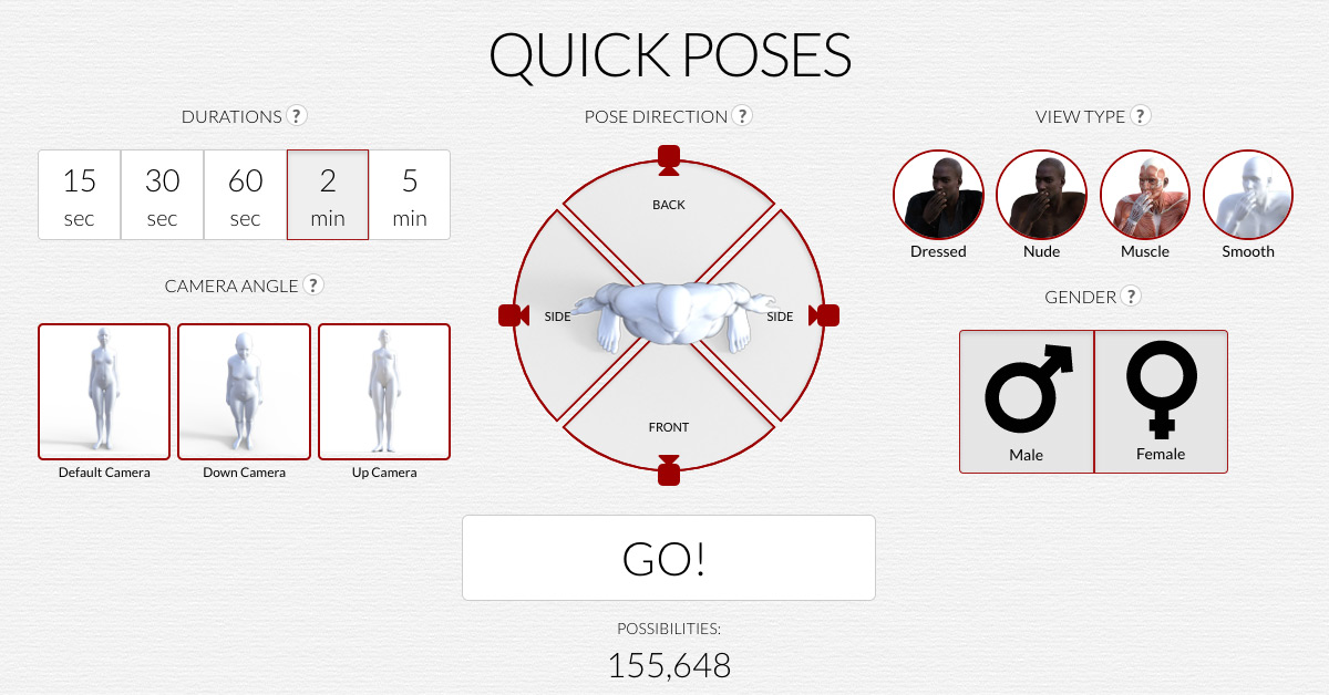 Quick poses, a timed drawing tool  - Figurosity