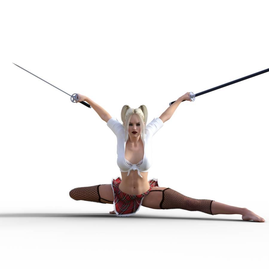 Figure Drawing Pose Of Female Martial Art Combat Kneeling