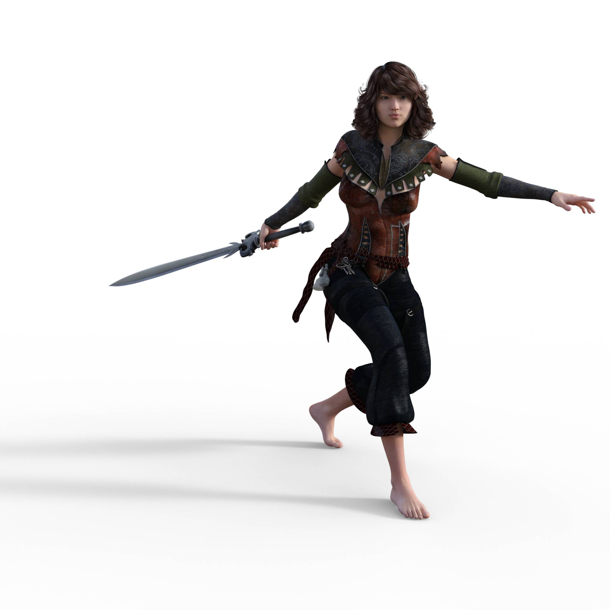 Figure drawing poses of a white woman with a couple of swords