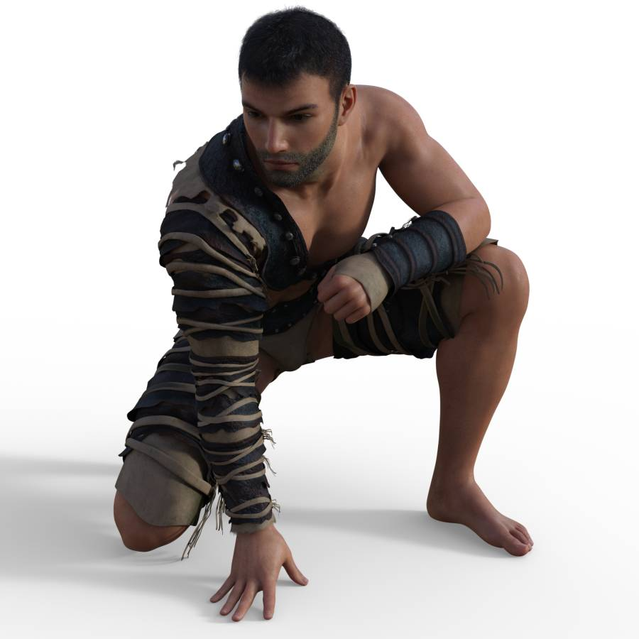 Figure drawing pose of male, casual, action, kneeling