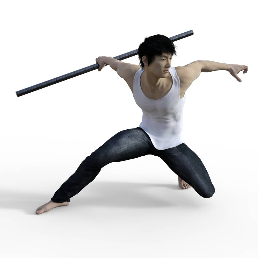 Figure Drawing Pose Ofmale Martial Art Action Fighting Crouching