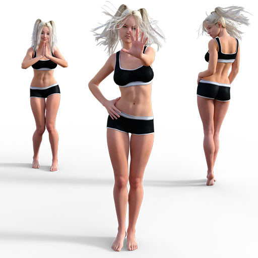 Figure drawing poses of a white woman with blonde pigtails, dressed in black underwear