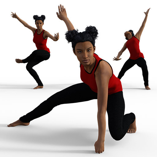 Figure drawing poses of a black woman dressed in tights
