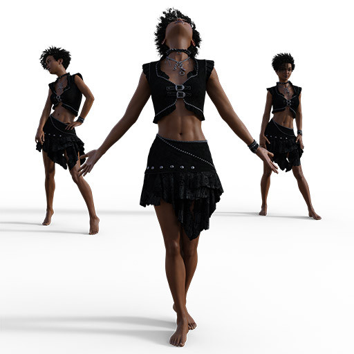 Figure drawing poses of of a young black roman in a rocker outfit.