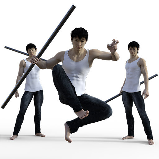 Figure drawing poses of a well dressed asian man with a staff