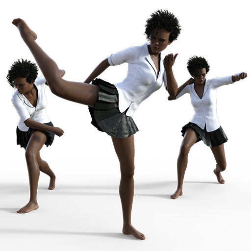 Figure drawing poses of a young black woman in a variety of fighting poses.