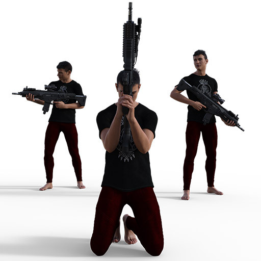 Figure drawing poses of a lean athletic man with two pistols and a rifle.