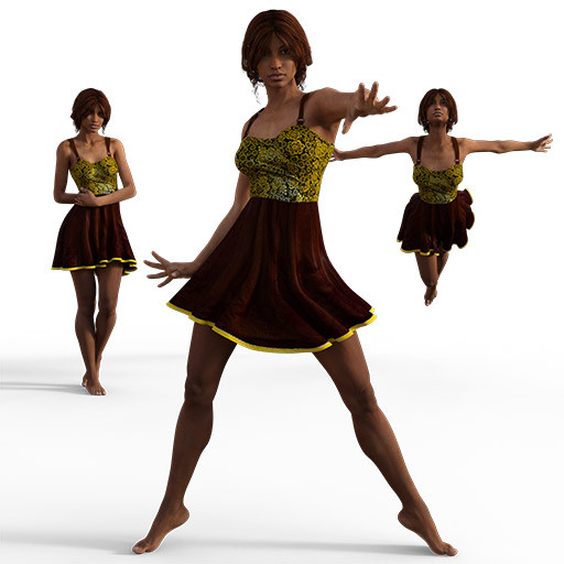 Figure drawing poses of a black woman in a summer dress