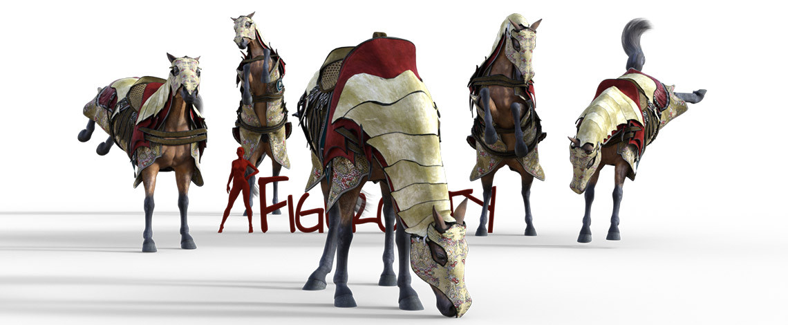 Horse in decorative armor poses