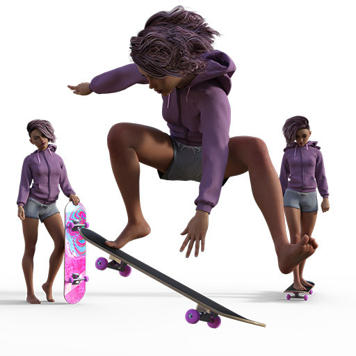 Figure drawing poses of a female skateboarded shredding some poses.
