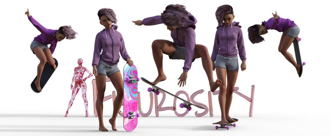 Aurora on her pink skateboard poses