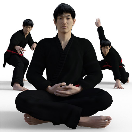 Figure drawing poses of an asian man wearing a black gi