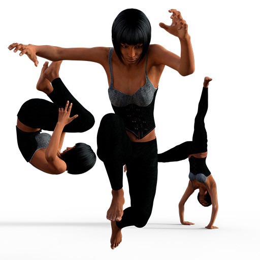 Figure drawing poses of a black woman dynamically jumping around in a black leotard