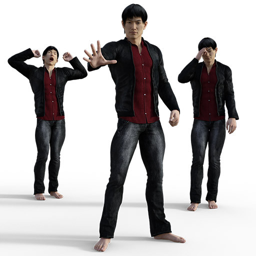 Figure drawing poses of an asian man, dressed in slacks and a jacket