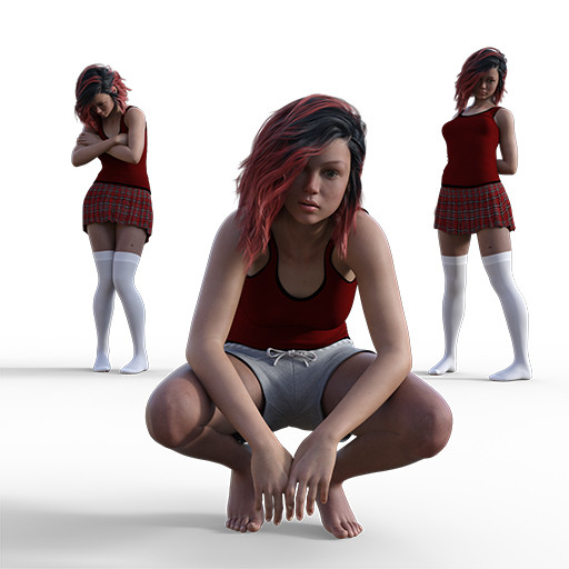 Figure drawing poses of a young white woman in some emo poses