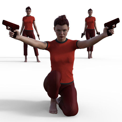 Figure drawing poses of a red haired woman with red clothes and two red guns