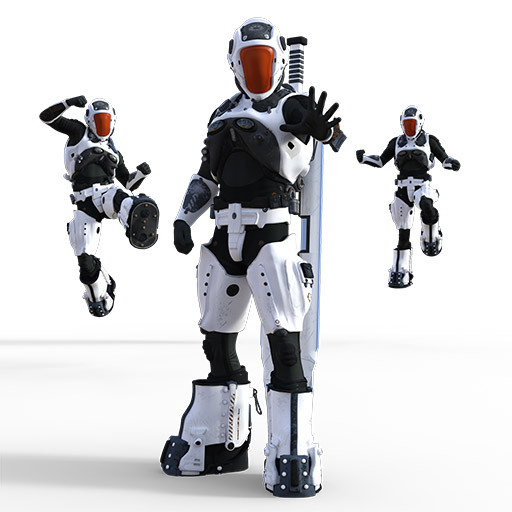 Figure drawing poses of an asian man in a mech warrior costume