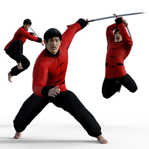 Figure drawing poses of an asian man in a red outfit holding a sword