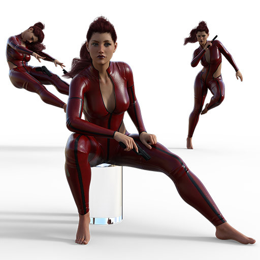 Figure drawing poses of a voluptuous woman in a red jumpsuit, holding a gun.