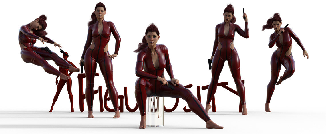 Sarah in her slightly used jump suit poses