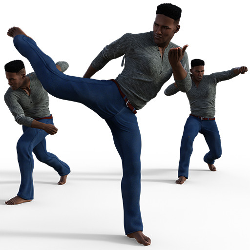 Figure drawing poses of a young black man in a variety of fighting poses.