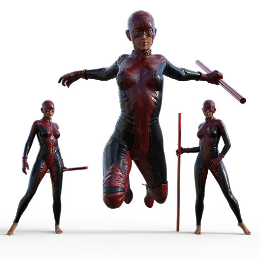 Figure drawing poses of an asian woman dressed in a superhero outfit carrying a staff