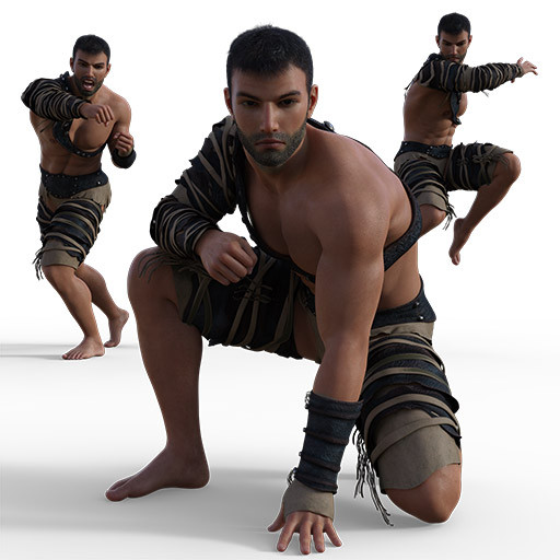 Figure drawing poses of a muscular olive skinned man in action and fighting poses