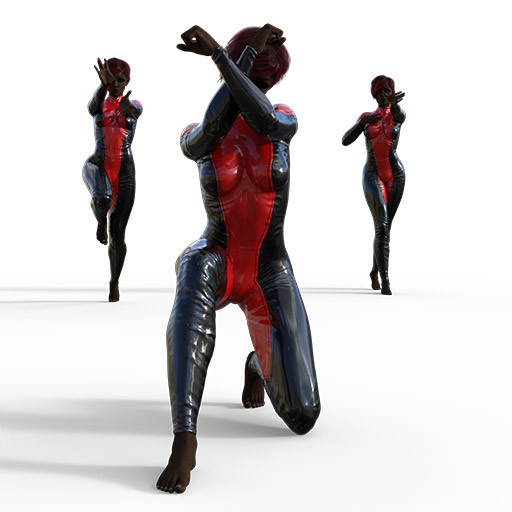 Figure drawing poses of a black woman in a superhero outfit