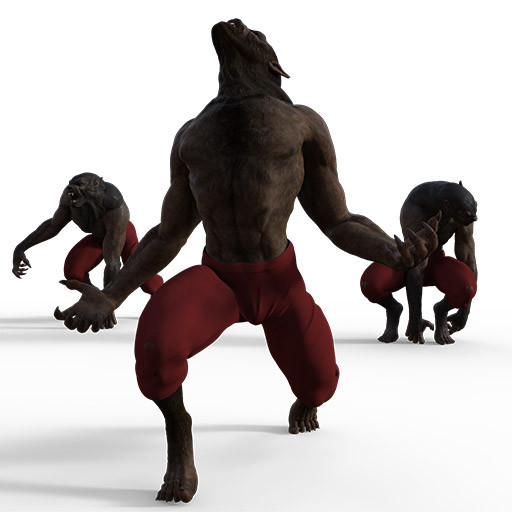 Figure drawing poses of a werewolf in some scary poses