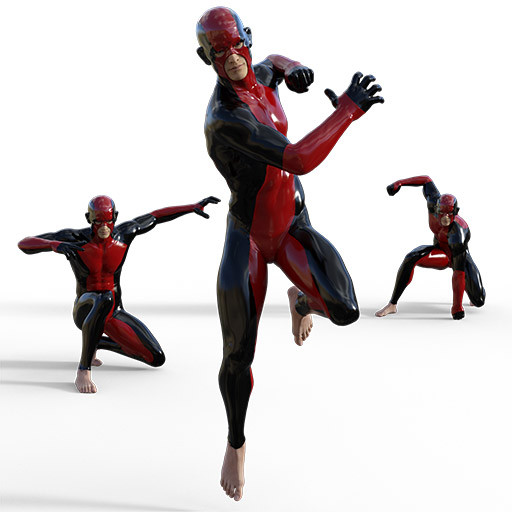 Figure drawing poses of an asian man in a superhero outfit