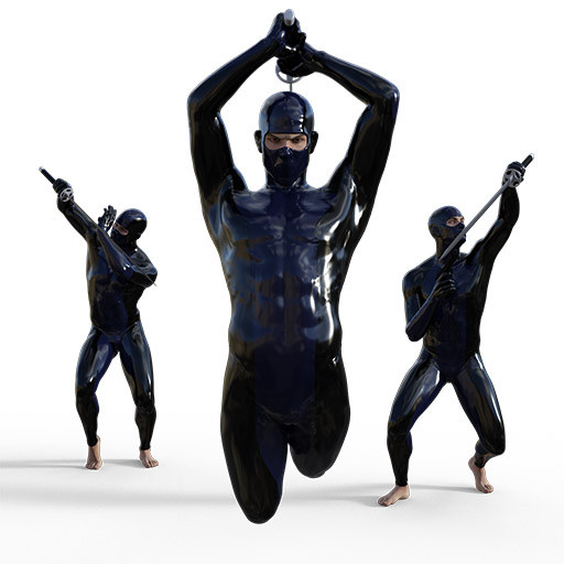 Figure drawing poses of a white man in a superhero outfit with a gun and a sword