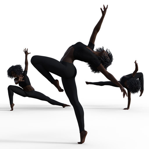 Figure drawing poses of a fit black woman in various dance moves