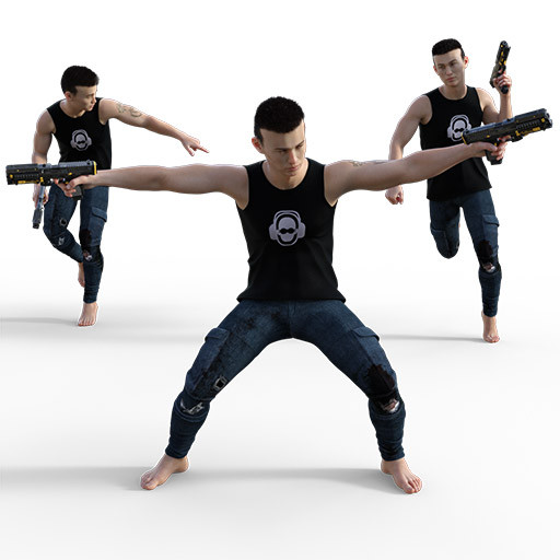 Figure drawing poses of  a Japanese man with two guns