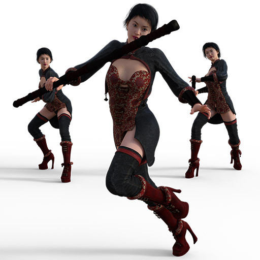 Figure drawing poses of an asian woman in a crazy outfit