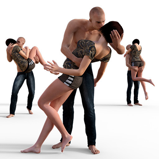 Figure drawing poses of a man and a woman kissing