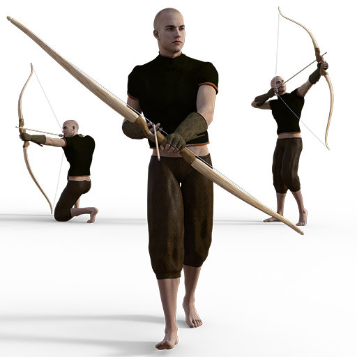 Figure drawing poses of a white man with a bow and arrow